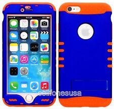 iphone 6s plus Case,  Hybrid Impact Rocker Kool Case Cover Blue on Orange Skin
