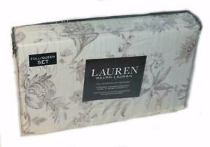 RALPH LAUREN Figueroa Floral Neutral 3P Full/ Queen Duvet Set NEW 1ST QUALITY