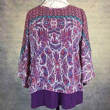 Sz PL Faith & Joy Womens Blouse Top Shirt Kimono Sleeves Sheer with Tank Paisley