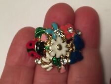 handmade gold enamel flower ladybug butterfly ring adjustable crystals