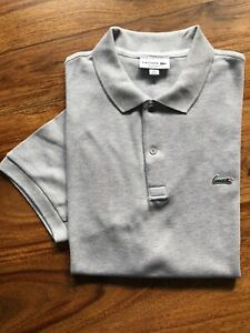 Lacoste Polo Shirt, Grey, Regular Fit, Size FR6/US XL Good Condition
