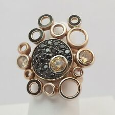 Rose Gold Vermeil over Sterling Silver CZ Bubbles Ring Sz 5-9