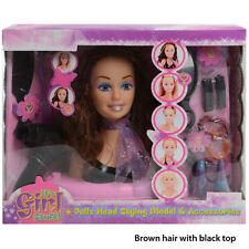 Filles jouet poupée style tête avec accessoires peigne brosse cheveux clips et m...
