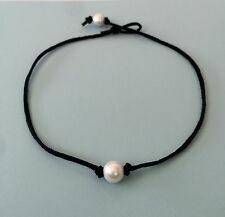 Genuine Leather Hand Knotted Single Freshwater Pearl Choker Necklace