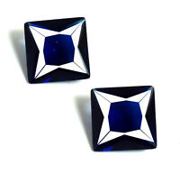 Ceylon 5.30 Ct Princess Cut Blue Sapphire Gemstone Pair Natural AGSL Certified
