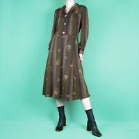 VINTAGE 70s 80s Pattern Brown Midi Boho Hippy Spot Dot Print Retro Dress S 10