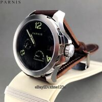 New 44mm Parnis Black Dial Leather Band Automatic Men's Wristwatch Watch 2229