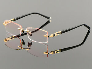 Luxury Pure Titanium Men Eyeglass Frames Rimless Glasses Gold Eyeglasses