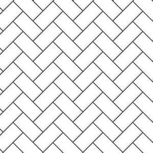 Dolls House Embossed White Herringbone Tiles Dark Grout Gloss Card Flooring 1:12