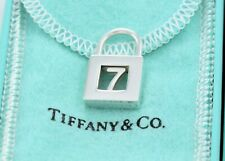 Tiffany & Co Sterling Silver Number 7 Lock Charm Pendant For Necklace / Bracelet