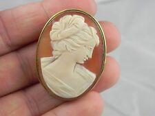"""** VINTAGE SILVER CAMEO BROOCH PIN 6.6 GRAMS 1.4X1.1"""" WOMEN WITH HAIR UP"""