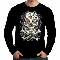 Velocitee Mens Long Sleeve T Shirt Tattoo Skull Pirate Horror Hardy Jerry A18007