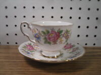 Royal Stafford Rochester Cup and Saucer Set Pink Rose Blue Flowers