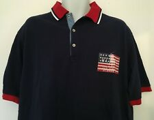 Polo Ralph Lauren Big&Tall American Flag Pique Polo Navy Flag Patch Size LT NWT
