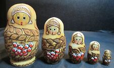 Wooden Made in Russia 5 Nesting Dolls