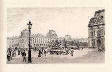 "Martial Potémont Original 1800s Historic Etching ""The Louvre Museum"" FRAMED COA"