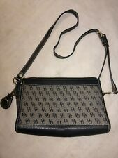 Dooney and Bourke Hand Bag/Purse Logo'd cloth Black Leather Trim and Brass