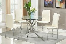 Glass Round Dining Table Set and 4 Chairs Modern Chrome Legs Faux Leather