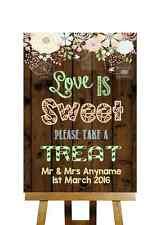 Effet bois rustique l'amour est sweet candy buffet Personnalisé Mariage Signe