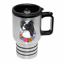 Papillon Black & White Stainless Steel 16oz Tumbler