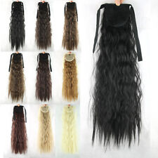 Long Hair Corn Stigma Curly Ribbon Ponytail Tie Up Clip in Wavy Hair Extensions