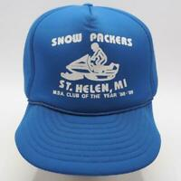 Vintage Snow Packers Michigan Snowmobile Adjustable Snapback Trucker Hat
