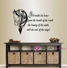 Vinyl Decal God Made the Horse from,,, Quote Stallion Animal Wall  Sticker 128