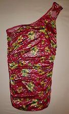Womens deb hot pink/yellow floral/silver zebra strips 1 shoulder top sz s