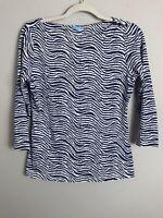 J McLaughlin Catalina Cloth Blouse Top Shirt-Blue White Pattern-3/4 Sleeve-Small