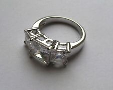 Sterling Silver Princess cut Cubic Zirconia trilogy ring size O 5.8g