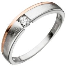 Ring Damenring mit Zirkonia weiß, 925 Silber teilvergoldet teilmattiert bicolor