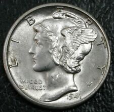1941-D Mercury Dime UNC. Choice BU FSB Full Split Bands