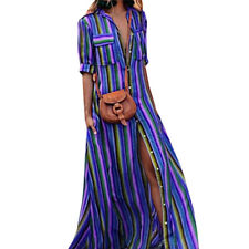 Womens Button Striped Maxi Casual Loose Long Dress Tea Dress Boho Shirt Dress