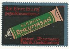 Germany, Dr. R. Reiss, Rheumatism Ointment,  Poster Stamp / Cinderella Label