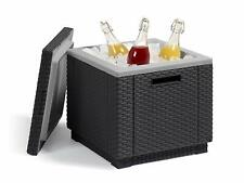 Keter Mesa Nevera Jardín Ice Cube Exterior Mueble Bar Hielera Bebida fria Negro