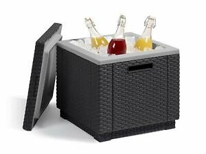 Keter Table Fridge Garden Ice Cube Exterior Furniture BAR Tray Drink Cold Black