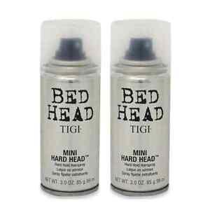 TRAVEL SIZE 2 PACK! TIGI BED HEAD MINI HARD HEAD FIRM STRONG HOLD HAIRSPRAY 3 OZ