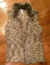 Charter Club Womans Sweater Vest~MED~Browns/faux collar/zip up~Beautiful