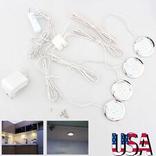 Set of 4 LED Under Cabinet Light Kit Round Puck Light Shelf Counter Closet Light