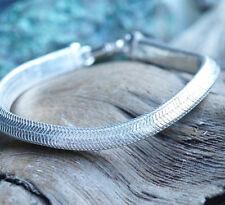 Dreieckig Silberarmband 18 cm Massiv 7 x 5 Silber Schlangenkette Armband