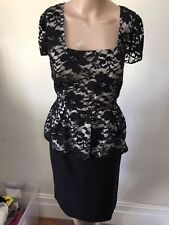 SZ 10 BASQUE LACE PEPLUM DRESS   *BUY FIVE OR MORE ITEMS GET FREE POST