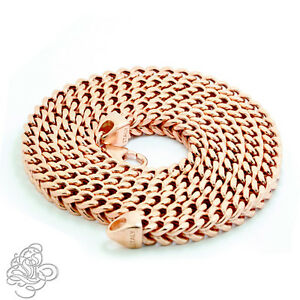 Mens 14K Rose Gold Plated Sterling Silver Franco Italy Chain Necklace All Sizes