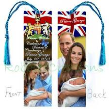 Baby GEORGE PRINCE WILLIAM KATE BOOKMARK w/Tassel Royal Birth Announcement Card