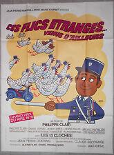 Affiche CES FLICS ETRANGES VENUS D'AILLEURS Hervé Morvan POLICE 120x160cm 1978