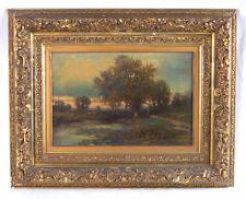1800's American Landscape Oil Painting Joseph Antonio Hekking Detroit Label