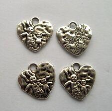 20pcs Tibetan silver heart charm pendant 16x16 mm