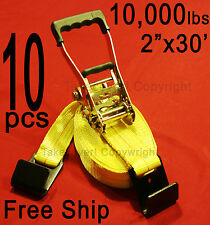 "Ten (10x) FREE SHIP 2"" x 30' 10000 lbs Ratchet Tie Down Strap Flat Hooks FH HD"