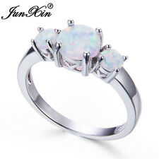 925 Silver Round Cut White Fire Opal Ring Wedding Jewelry Women Fashion Size6-10