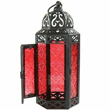 Red Glass Lantern Patio Decor Outdoor Indoor Candlelight