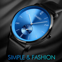 SKMEI Mens Large Dial Waterproof Stainless Steel Leather Band Casual Dress Watch